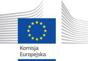 Logo Komisji Europejskiej, flaga niebieska z żółtymi gwiazdkami